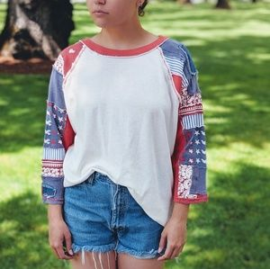 Free People Red, White and Blue Patchwork Shirt
